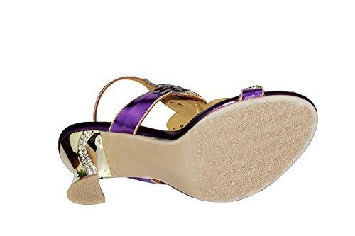 Paseo Purple Mujer Sandalias Diamante Tacón Imitación Fiesta Zapatos Señoras Strappy A Zpl Hecho De Boda Mano FU1R1xS