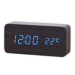 Aneforall Wooden LED Alarm Clock Temperature Date LED Display Wood Grain Clock 3 Levels Brightness Voice Control Modern for Home Bedroom Bedside