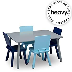 Cool Delta Children Kids Chair Set And Table 4 Chairs Included Grey Blue Forskolin Free Trial Chair Design Images Forskolin Free Trialorg