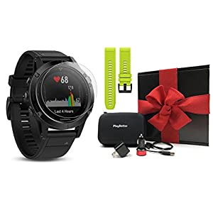 Garmin Fenix 5 Sapphire (Black/Black Band) Gift Box Bundle   Includes Extra Band (Yellow), Glass Screen Protector, PlayBetter USB Car/Wall Adapter, Protective Case   Multi Sport GPS Watch, Wrist HR
