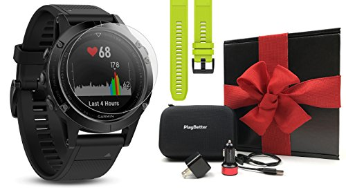 Garmin Fenix 5 Sapphire (Black/Black Band) Gift Box Bundle | Includes Extra Band (Yellow), Glass Screen Protector, PlayBetter USB Car/Wall Adapter, Protective Case | Multi-Sport GPS Watch, Wrist HR For Sale