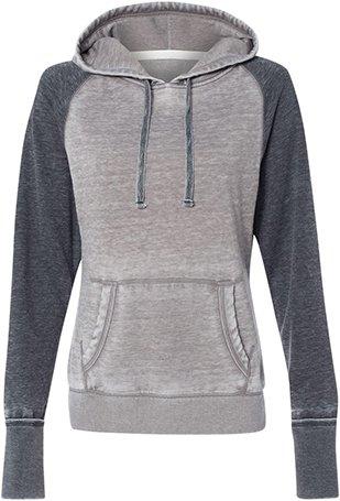 J. America Ladies ZEN Contrast Pullover Hood America Polyester Fleece