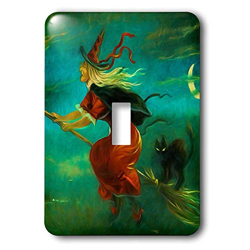 3dRose Doreen Erhardt Halloween Collection - Vintage Witch with Black Cat from 1908 Repainted for Halloween - Light Switch Covers - single toggle switch -