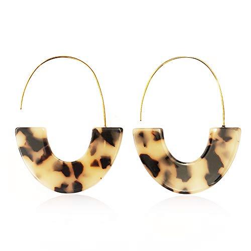 ZÉLEVII Acrylic Hoop Earrings Mottled Resin Earrings Bohemian Statement Earrings Dangle Earrings Tortoise Earrings for Women (Including Gifts) (Leopard Print)
