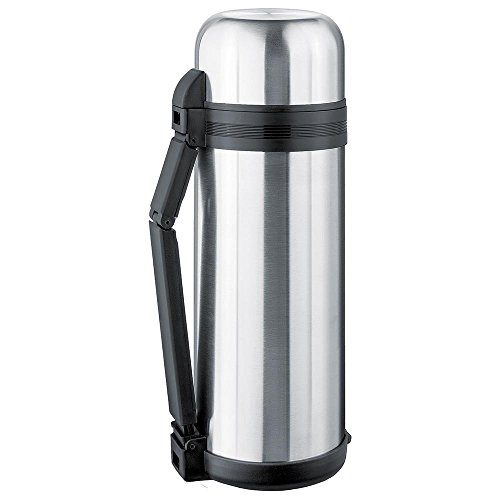Isosteel VA-9903W 61 fl.oz. Vacuum flask, 18/8 stainless steel, Screw stopper with 2 gaskets, with extra wide opening, incl. foldable handle + Removable carrying strap