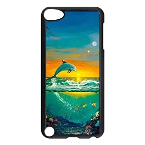 Design Case Cute Dolphin Patterned Sunset Ocean Sea Print on Hard Plastic Back Case Cover Ipod touch 5 Case Perfect as Christmas gift(5)