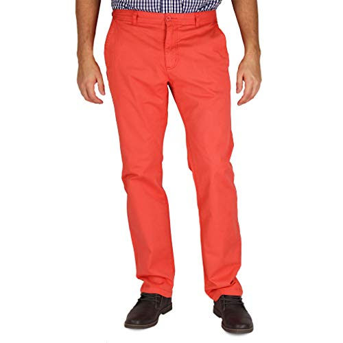 (Mens Modern Stretch Fit Flat Front Casual Pants (Sail Red, Size 36W x 32L))