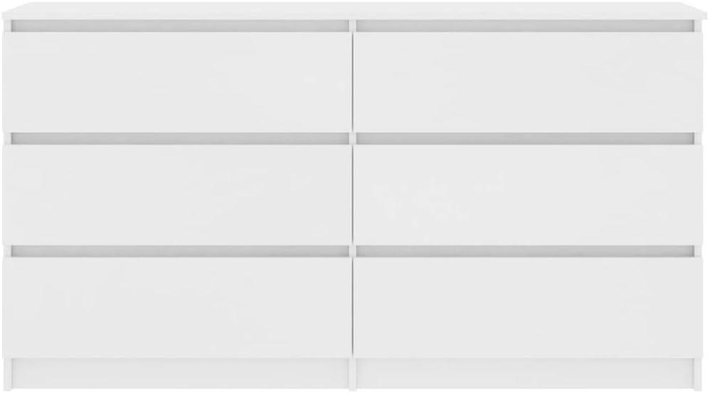 Festnight Credenza Cassettiera Moderna in Truciolato Bianco//Nero//Rovere Sonoma,Credenza Soggiorno Moderna,Credenza con Cassetti,Cassettiera Soggiorno Moderna,Cassettiera Orizzontale 140x35x77 cm