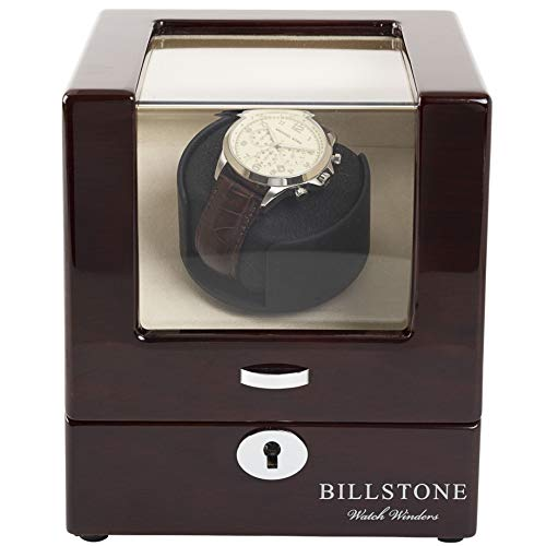 - BILLSTONE Watch Winder - Collector 1 - for 1 Automatic Watch/Dedicated Rotor/Quiet Mabuchi Motor/Easy Set-up/4 Pre-Programmed Modes/Cream Velvet Interior (Mahogany Wood Finish)
