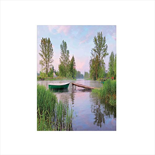 Decorative Privacy Window Film/Rural Landscape Lakeside Boat Trees Grass Clouds and Boardwalk Countryside/No-Glue Self Static Cling for Home Bedroom Bathroom Kitchen Office Decor Green Blue Brown