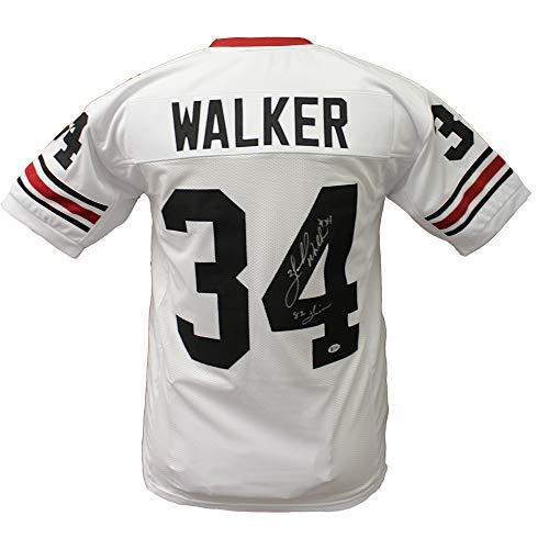 Herschel Walker Georgia Bulldogs Autographed Signed Custom White Jersey with 82 Heisman Inscription - Beckett ()