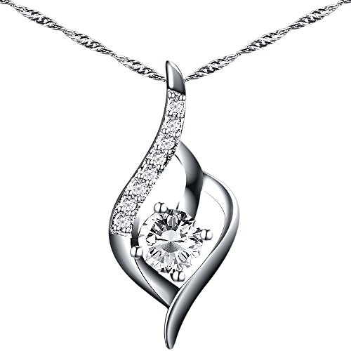 ACALANTHA 925 Sterling Silver 1mm Necklace Pendant Jewelry for Women 18″