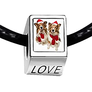 Chicforest Silver Plated two Wearing red a Santa Hat dogs Photo LOVE Charm Beads Fits Pandora Charm Bracelet