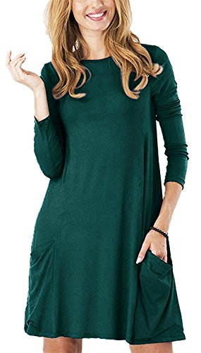 Zero City Womens Casual Pockets Plain Flowy Simple Swing T-Shirt Loose Dress, 03dark Green, Small