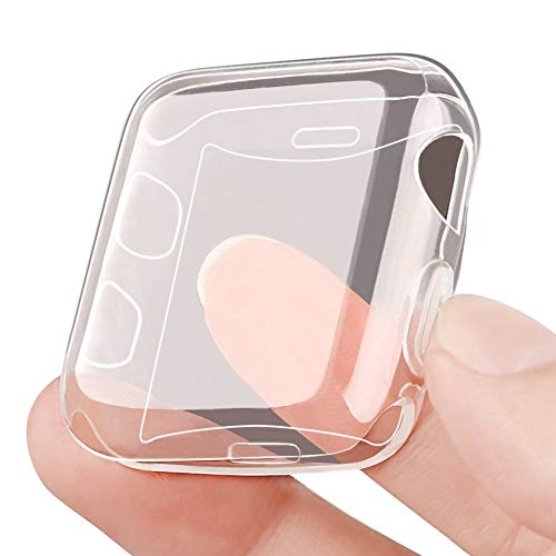 OULUOQI Compatible with Apple Watch Screen Protector 42mm and Case, Soft Transparent TPU All-Around Cover Protective Compatible with iWatch Case Series 3&2