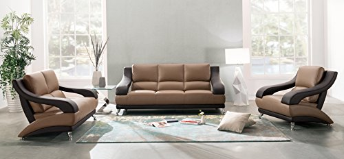 Wyatt Collection - Global Furniture Wyatt Collection Leather Matching Sofa, Brown and Dark Brown
