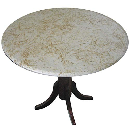 Fitted Vinyl Table Cloth Round With Elastic Edge - Fits 44 Inch To 48 Inch Tables (Alabaster Gold)