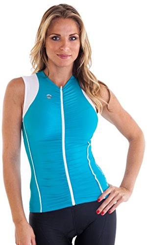 "Alii Lifestyle Women's ""Beatriz"" Sleeveless Bike Jersey with Ruched Front, Teal, Small"