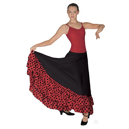 Eurotard Adult Polka Dot Flamenco Skirt (08804) -BLK/RED -XL