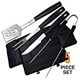 TOP CHEF - 5 Piece BBQ Set with Nylon Carrying Case - Stainless Steel Spatula, Tongs, Fork and Knife with Aluminum Handles