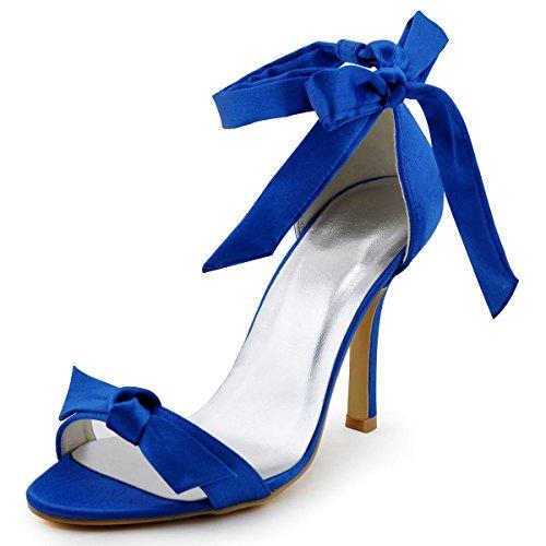 Elegantpark HP1405 Blue Women Open Toe Stiletto Heel Ankle Strap Satin Sandals US 10