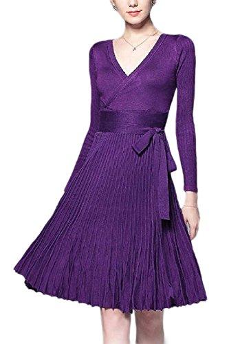 Otoño Manga Midi Larga Vestido De Las Elegante De Purple De Fasumava Mujeres Vestidos Plisada Punto nYBAPnqw