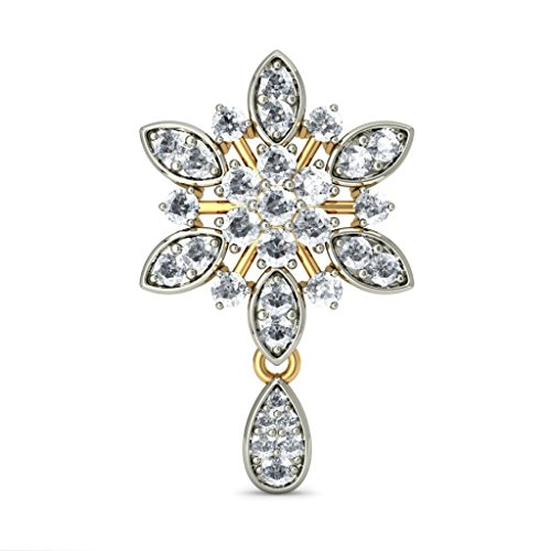 14 K Or jaune 1.7 CT TW White-diamond (IJ | SI) Pendants d'oreilles