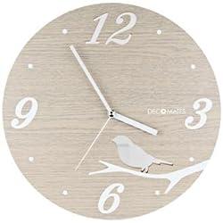 DecoMates Non-Ticking Silent Wall Clock, Modern House Bird Cutout