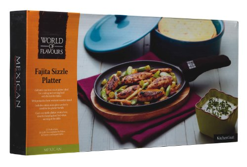 Cast Iron Fajita Sizzler with Wooden Stand by World of Flavours (Image #1)