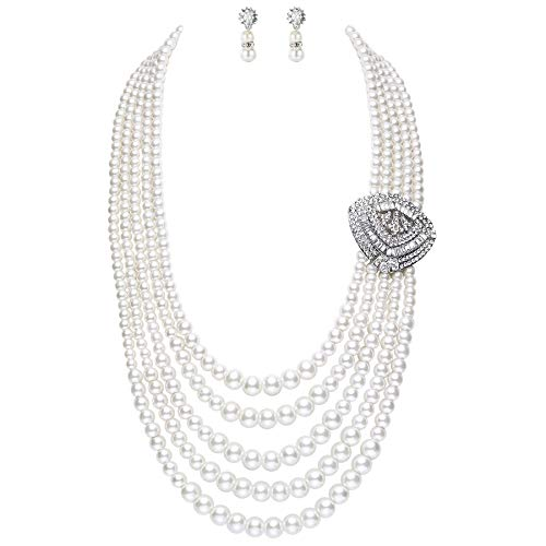 (BABEYOND 1920s Gatsby Pearl Necklace Vintage Bridal Pearl Necklace Earrings Jewelry Set Multilayer Imitation Pearl Necklace with Brooch (Style 5))