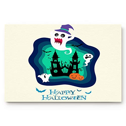 BABE MAPS Halloween Blue Cartoon Clip Art Welcome Doormat Entrance Floor Mat Rug Indoor/Front Door/Bathroom/Kitchen and Living Room/Bedroom Mats Rubber Non Slip -
