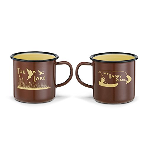 The Lake My Happy Place Duck Fish Nature Brown 10 Ounce Enamelware Mug Set of 2