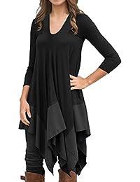 Women Irregular Hem Long Sleeve Loose Shirt Dress Top