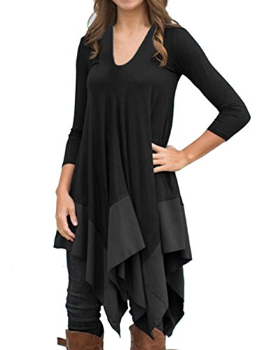 AMZ PLUS Women Irregular Hem Long Sleeve Loose Shirt Dress Top Black L