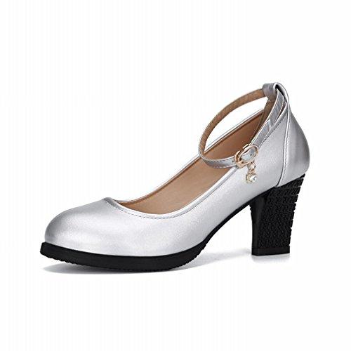 BYLE Sandalias de Cuero Tobillo Modern Jazz Samba Zapatos de Baile Zapatos de Baile Cuadrados bajo para Ayudar Casual Zapatos de Mujer Bailando Plata 37