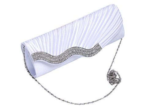 Crystal Clutch Prom Bridal Champagne Evening Pleated Handbags Diamante Bags Satin For White Women Y0A8ZXn