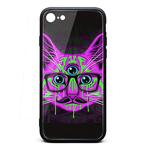 Cool Phone Case for Iphone6 Plus/6s Plus cat with red Eyes How to do a cat Eye one Eyed cat Rubber Frame Tempered Glass Covers Pretty Anti-Scratch Skid-Proof Never Fade Cell Cases Big Ultra ()