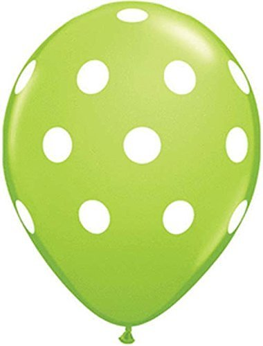 Qualatex Big Polka Dots White/Lime Green Biodegradable Latex Balloons, 11-Inches (12-Units) ()