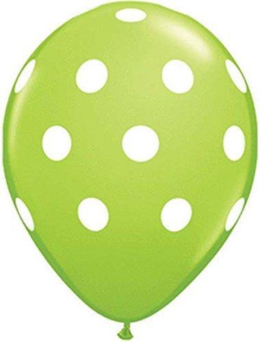 - Qualatex Big Polka Dots White/Lime Green Biodegradable Latex Balloons, 11-Inches (12-Units)