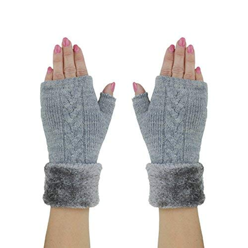 Heather Gray Classic Fingerless Mitten Gloves w/ Soft Chenille Lining & Cuff