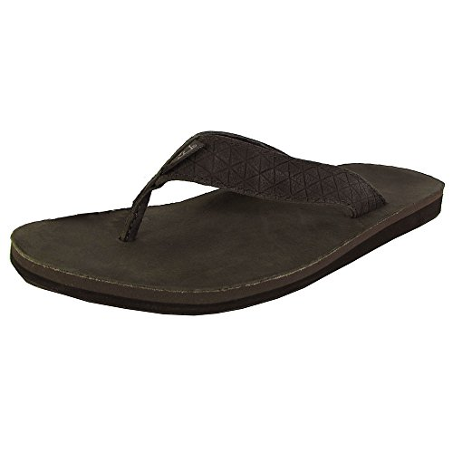 Teva Flip Leather Flops (Teva Men's Classic Leather Diamond Flip-Flop, Black Olive, 8 M US)