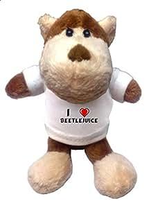 Mono de peluche (llavero) con Amo Beetlejuice en la camiseta (nombre de pila/apellido/apodo)