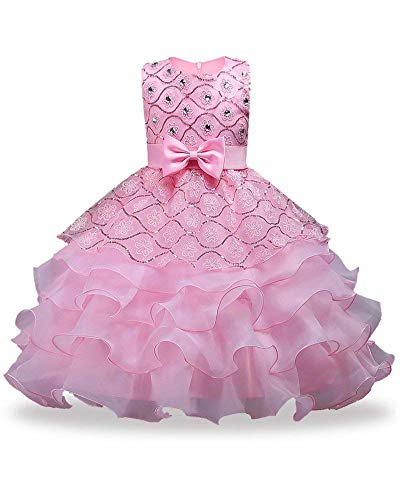 FKKFYY Big Girls Dresses Teen Princess Party Birthday Prom Gowns Sleeveless Knee Length 7-16 Age of 10 Ten Big Girl Dresses Size 10-12 Lace Tulle Bridesmaid Ruffles Dresses for Girls 10-12 (Pink 140)