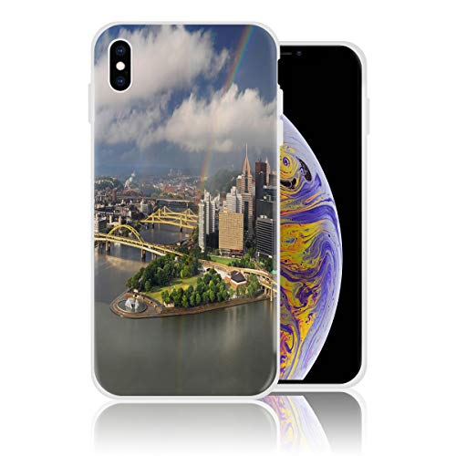 Silicone Case for iPhone Xs Max Personalized Design Printed Phone Case Shockproof Full Body Protection Anti-Scratch Drop Protection Cover - Pittsburgh Cityscape]()
