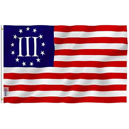 Anley Fly Breeze 3x5 Foot Nyberg Three Percent Flag - Vivid Color and UV Fade Resistant - Canvas Header and Double Stitched - 3 Percenters Flags Polyester with Brass Grommets 3 X 5 Ft