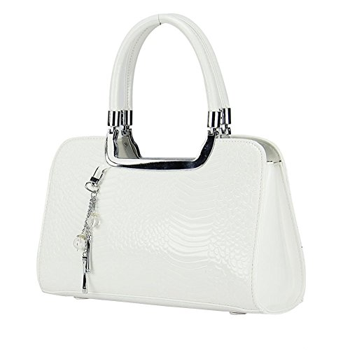 YipGrace Shiny Patent Pu Leather Rhinestones D¨¦cor Tote Satchel Womens Handbag Evening Bag Wedding Bag White