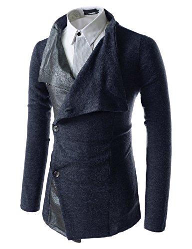 (GD93) Slim Stylish Unbalanced Metallic Leather Point Knitted Cardigan Sweaters Navy US L(Tag Size XL)