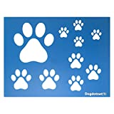 """Dogdotnet One Dog Cat Paw Print Stencils Sheet Template, Various Paw Print Sizes, 4"""", 2"""", 1.5"""" and 1"""" Tall"""
