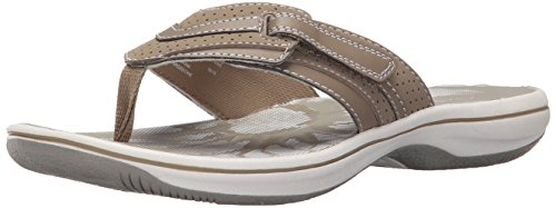 Clark Collection - CLARKS Women's Brinkley Keeley Flip Flop, Greystone Synthetic, 9 M US