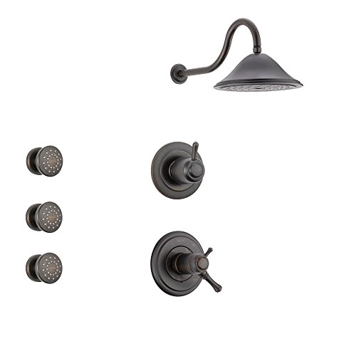 Delta Cassidy Venetian Bronze Shower System with Thermostatic Shower Handle, 3-setting Diverter, Large Rain Showerhead, and 3 Body Sprays SS17T9781RB Delta Faucets